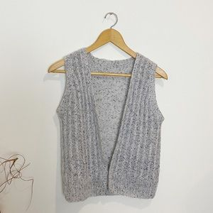 Hand Knit Ribbed Blue Gray Open Sweater Vest